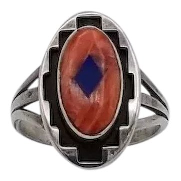 Vintage sterling silver ring Native American spiny oyster lapis inlay Teme S8