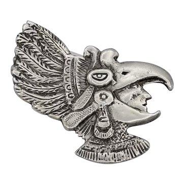 """Vintage Taxco Mexican statement brooch baroque Aztec Eagle Warrior 3"""""""