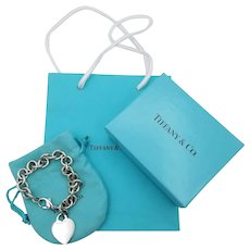 Tiffany & Co. sterling silver bracelet engravable heart tag w pouch box shopping bag