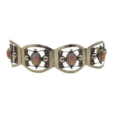 "Vintage Taxco Mexican 4 panel wide bracelet oval faux fire opals 7"""