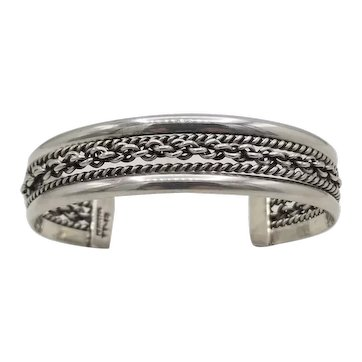 """Vintage Taxco Mexican sterling silver cuff bracelet .61"""" wide"""