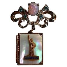 Vintage Statue of Liberty New York faux opal MOP Locket dangle Brooch Pin