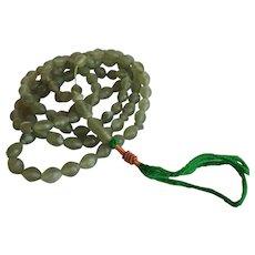 Antique Chinese Tibet hand carved green phrenite Mala Prayer beads