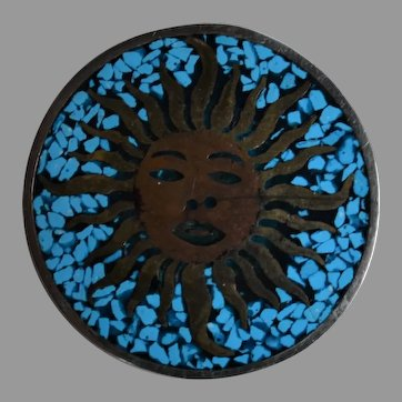 Vintage Mexico 925 sterling silver brass copper crushed turquoise Sun face convertible Brooch Pin Pendant
