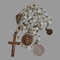 Vintage 1944 white slag glass sterling silver Rosary prayer beads Notre Dame de Lourdes France