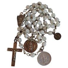 Vintage 1944 white slag glass sterling silver Rosary prayer beads Notre Dame de Lourdes France