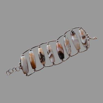 Banded Agate statement link bracelet huge tubular beads