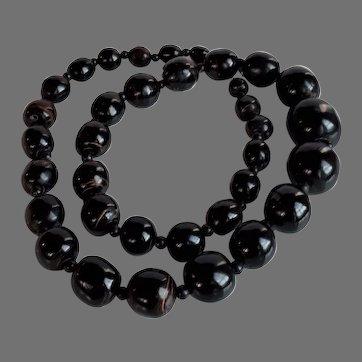 Rare Vintage chunky 70's Hawaiian Black Coral graduated Necklace huge beads 50 gr