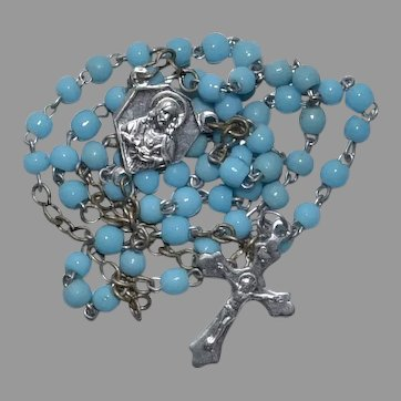 Miniature tiny doll size Vintage France blue glass 5 decades Catholic Rosary for Doll