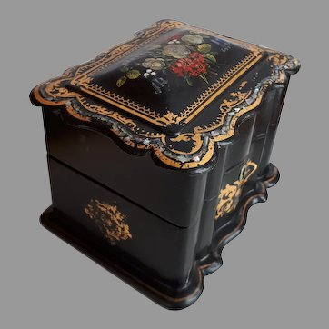 Antique Victorian hand painted Jewelry Box purple velvet