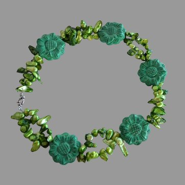 STATEMENT hand carved Green Gemstone flower dyed green keshi pearl Statement Necklace