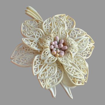 Rare large WWII cream soft plastic filigree layered Flower Brooch Pin with pink stamens