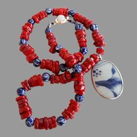 140 gr OOAK chunky red coral necklace antique Chinese porcelain beads Qing dynasty shard pendant