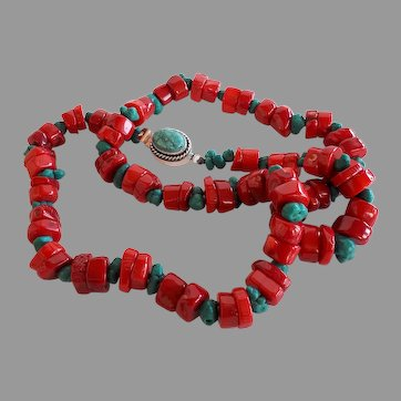 115 gr OOAK red coral turquoise nuggets Southwest style necklace turquoise clasp