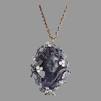 Massive carved pate de verre amethyst glass Cameo lady Bust sculpture paste flowers metal leaves pendant necklace