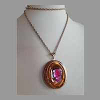 Big Vintage gold plate amber purple pate de verre glass cameo locket pendant necklace