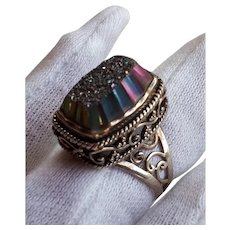 Sajen 925 Sterling Silver purple peacock mica druzy geode Cocktail Ring 7.5 - 8