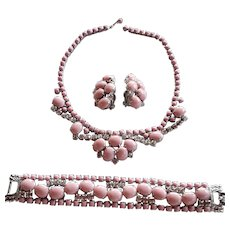 Vintage designer pink glass clear rhinestone parure set
