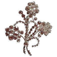 Enormous vintage signed Austria clear rhinestone crystal Flower Bouquet Brooch Pin
