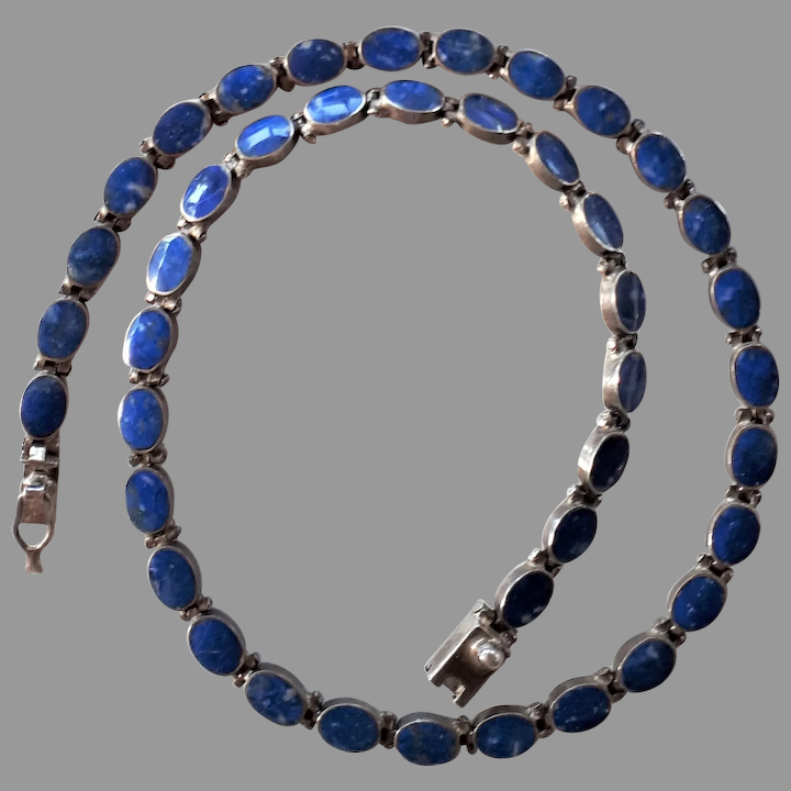 Vintage Lapis Lazuli and silver necklace