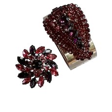 Rare Juliana demi set brooch pin and bracelet purple cranberry rhinestones gold metal
