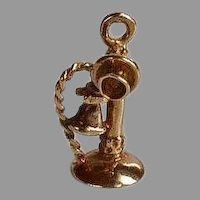 Vintage 14 carat karat yellow gold Antique Telephone Charm or Pendant