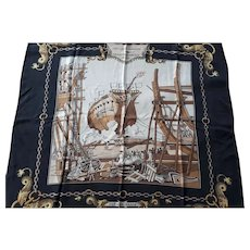Vintage Hermes Paris Silk Scarf antique sailing ship launch nautical scene