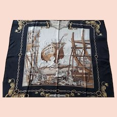 Vintage Hermes Paris Silk Scarf antique sailing ship launch nautical scene