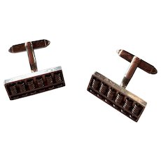 Vintage Art Deco Sterling Silver 925 Figural Abacus Counting Frame movable elements Cufflinks Cuff links