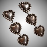 Vintage Mexico 925 silver puffy hearts clip-on earrings