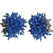 Unusual vintage Blue Lucite Cluster Clip-on Earrings