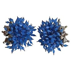 Unusual vintage Blue Lucite Cluster Clip-on Earrings