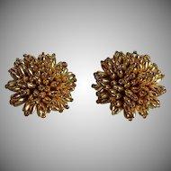 Vintage gold plastic cluster Clip-on Earrings