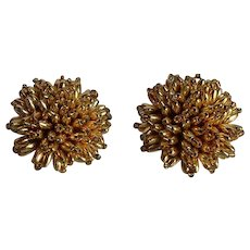 Vintage gold plastic cluster Clip-on Earrings