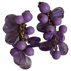 Vintage W. Germany mauve plastic Dangle Clip-on Earrings