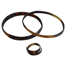 Antique Victorian Set Faux Tortoiseshell celluloid 2 Bracelets & Ring