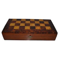 Antique handmade Chess and Checkers Game Wood Box