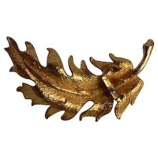 Vintage gold tone metal dimensional Leaf Brooch Pin with Hebrew character or word