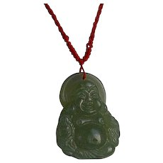 Vintage Chinese hand carved Green Jade Jadeite Buddha Pendant