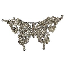 Art Deco pot metal pave rhinestone paste Butterfly Brooch Pin