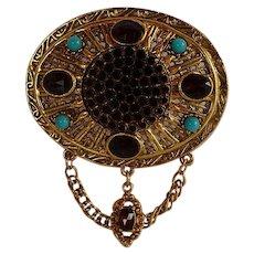 Vintage Victorian Revival Rhinestones Brooch Pin