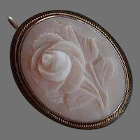 Victorian Angel Skin Coral Silver Gold Cameo pendant & pin
