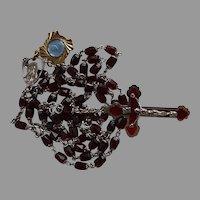 Vintage garnet crystal Catholic Rosary & Pope John XXIII relic medal gift