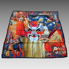 Huge Silk Scarf with Chinese Opera Masks and dragon