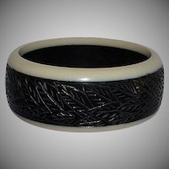 Art Deco Carved Black & Cream Galalith Bracelet