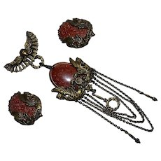 Vintage set signed Clara Egyptian Revival sunstone & brass statement Brooch Pin & Earrings