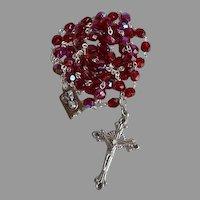 Vintage Red Crystal Sacred Heart Catholic Rosary