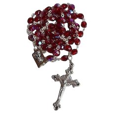 Vintage Red Crystal Sacred Heart Catholic Rosary