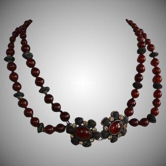 Vintage Monet Carnelian gemstone & Brass Necklace