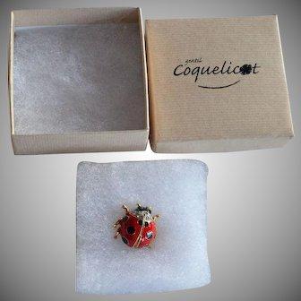 signed Gentil Coquelicot Enamel & Rhinestone Ladybug Lapel Pin in original box - not worn